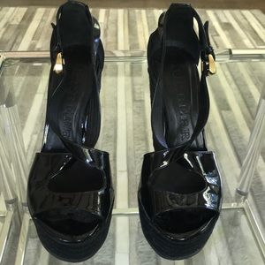 Burberry Patent Leather Platform Wedges, EUR 35
